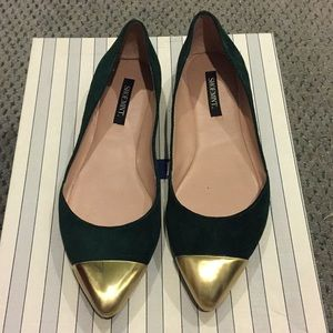 Shoemint green suede flats with gold tips sz 6.5